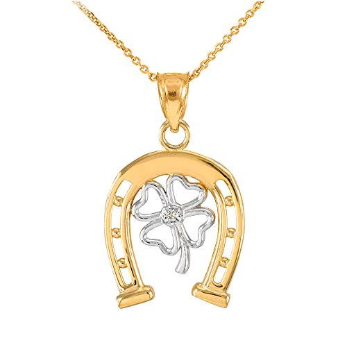 14k Two-Tone Gold Lucky Horseshoe with Irish 4-Leaf Clover Diamond Pendant Necklace, 20""