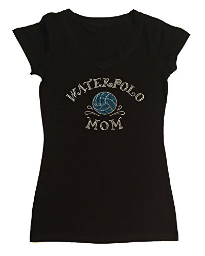 Water Womens Cap Sleeve T-shirt - Womens T-shirt with Lt. Blue Waterpolo Mom in Rhinestones (2X, Black Cap Sleeve)