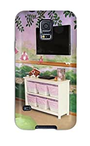 Tpu Case Cover Compatible For Galaxy S5/ Hot Case/ Fairy Garden Girls Playroom With Fairy Mural And Pink And Green Beanbag Chairs