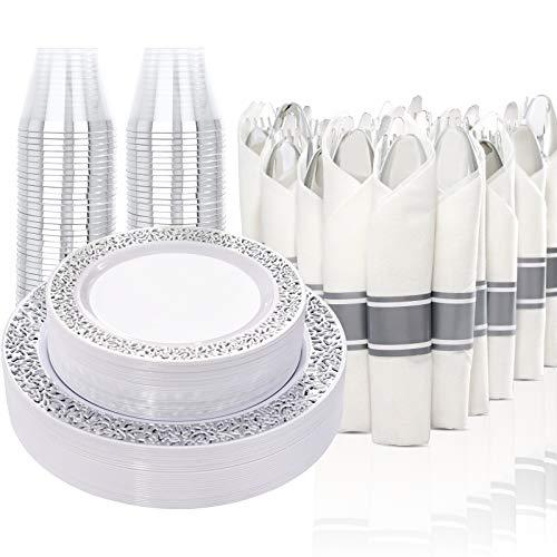 210 Pcs Silver Plastic Dinnerware, Disposable Silver Plates, Includes: 30 Dinner Plates, 30 Salad Plates, 30 Cups 9 OZ…