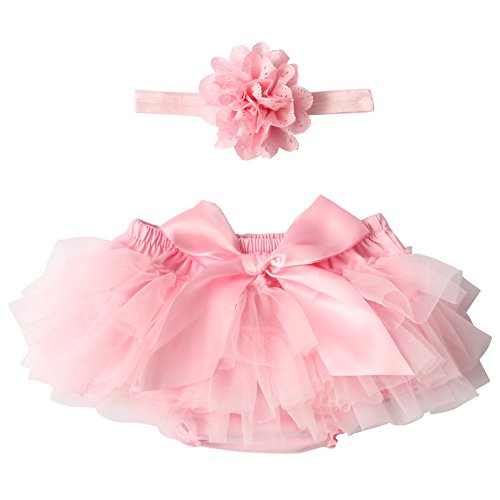 Luckyauction Baby Infant Girls Ruffle Skirts Panties Briefs Bloomer Diaper Cover With Flower Headband,Pink,S/0-1Y