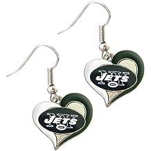 New York Jets NFL Sports Team Logo Swirl Heart Shape French Hook Style Charm Dangle Earring Set