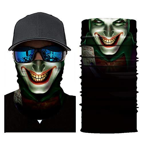 RoJuicy Cycling Face Masks Head Scarf 3D Joker Skull Pattern Mask Neck Warmer Face -