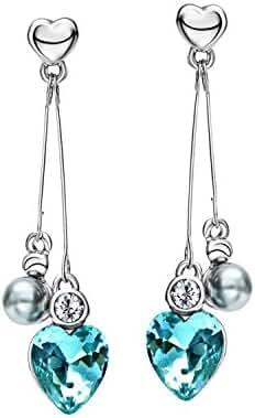 Neoglory Blue Ocean Heart Crystal Drop Earrings Rhinestone Platinum Plated Fashion Christmas Gifts