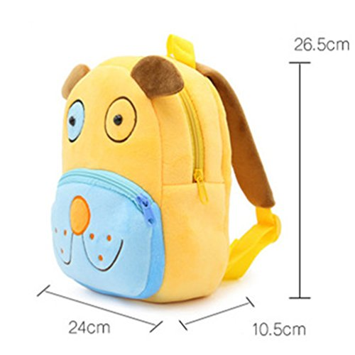 Swesy Cute Animal Toddler Baby Backpack Plush Toy Backpack Snack Bag Travel Bag for 2-4 Years (Dog)