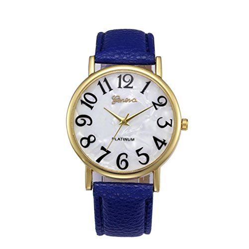 Watches,Shinericed Women's Fashion Retro Digital Dial Leather Band Big Numbers Quartz Analog Wrist Watch (Blue) (Quartz Set Wrist Watch)