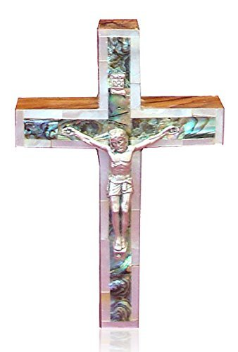 Bethlehem Gifts TM Bethlehem Olive Wood Wall Cross with Silver Crucifix by (5 inches Mother of Pearl)