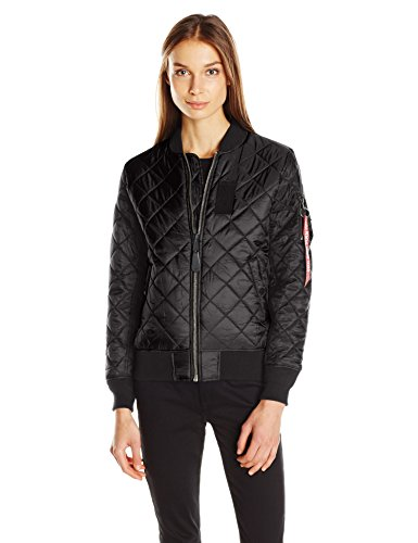Alpha Industries Women's Ma-1 Diamond W Flight Jacket, Black, XS