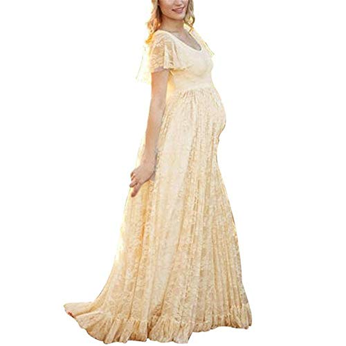 (Women's Ruched Floral Lace Maternity Nursing Party Maxi Tank Dress Baby Shower Pregnancy Photography Long Gown Dresses Yellow)