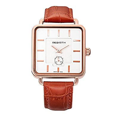 REBIRTH Lady's Luxury Dress Styles Quartz Movement Wrist Watch Leather Band