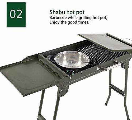Barbecue au Charbon de Bois Portable,Grill Pliable,Barbecue de Camping en Acier Inoxydable Facilement assemblé,pour 2 à 10 Personnes