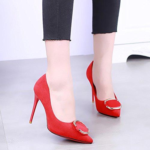KHSKX-Mariée À Talons De 10 Cm A Talon Rouge Chaussures Chaussures De Daim Peu Profonds Bien gules xu4b6AAH