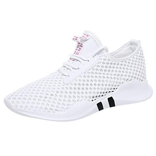 (CCFAMILY Women's Sneakers Summer Ladies Lightweight Hollow Mesh Sneakers Students Shoes Casual Breathable Shoes White)