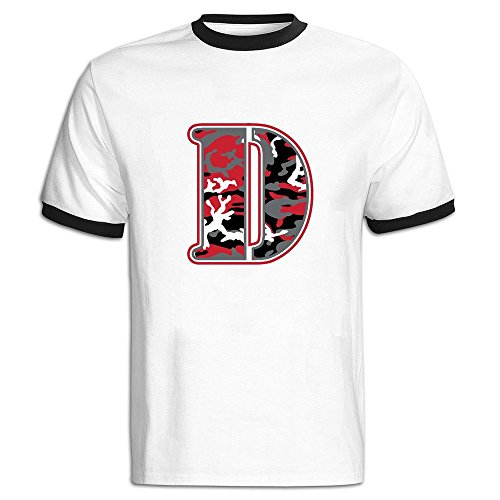 Custom Men's Two-toned Funny Red Camo Wall Letter D Tee Black Size (Ipod Redskin)
