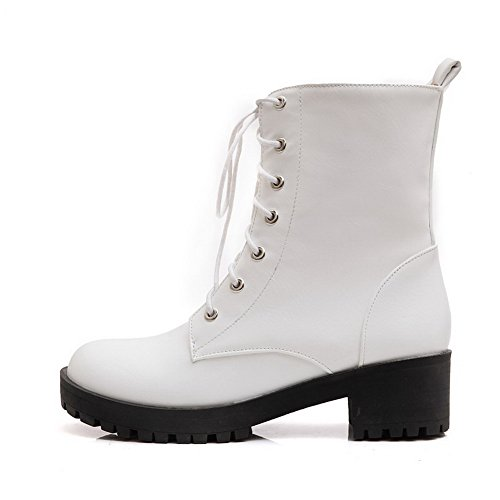 AllhqFashion Womens Soft Material Lace-Up Round Closed Toe Kitten-Heels Low-Top Boots White nlK9PDgKVw