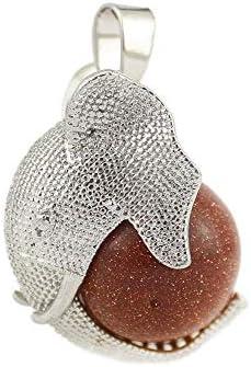 Purmy Halskette Damen Halskette Herren Kristallstein Kette Quartz Heilstein Kristallstein Anhänger,Elefant Mit Kristallkugel,Bester Kristallschmuck Für Frauen Männer