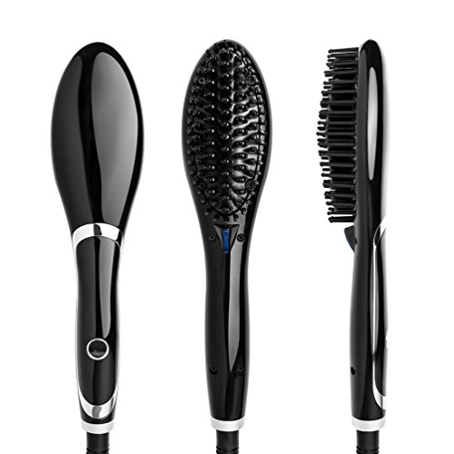 New Ceramic Hair Brush (Straightening Brush Ceramic Heating Hair Straightener Brush Professional Temperature Display Styling Tools Anti-scald Comb Tooth Black and Silver Color)