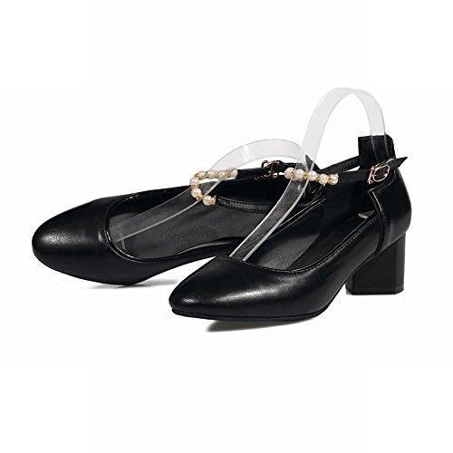 Mee Shoes Damen chunky heels ankle strap runde Pumps Schwarz