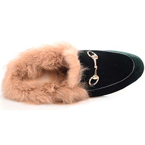 Enmayer Dames Zwart Retro Mode Loafers Ronde Neus Op Platte Buiten Slippers Met Harige En Gesp Groen (fluweel)