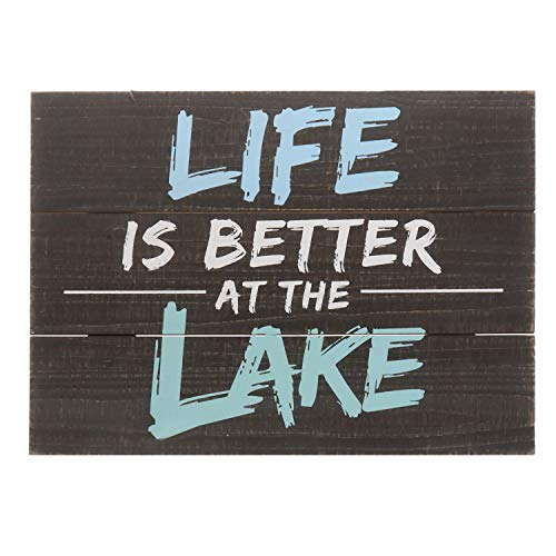 Barnyard Designs Life is Better at The Lake Decor Sign Rustic Wood Lake House Cabin Home Wall Decoration 15.75