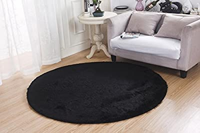 Bedroom Rugs, MBIGM Super Soft Modern Circular Living Room Rugs Decorative Shaggy Floor Round Carpets Play Nursery Rug for Bath Rooms, Diameter 4.6 Feet, Black