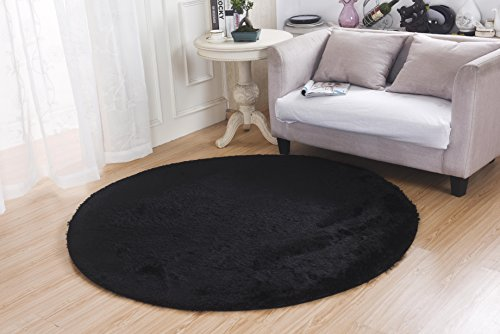 Bedroom Rugs, MBIGM Super Soft Modern Circular Living Room Rugs Decorative Shaggy Floor Round Carpets Play Nursery Rug for Bath Rooms, Diameter 4.6 Feet, Black