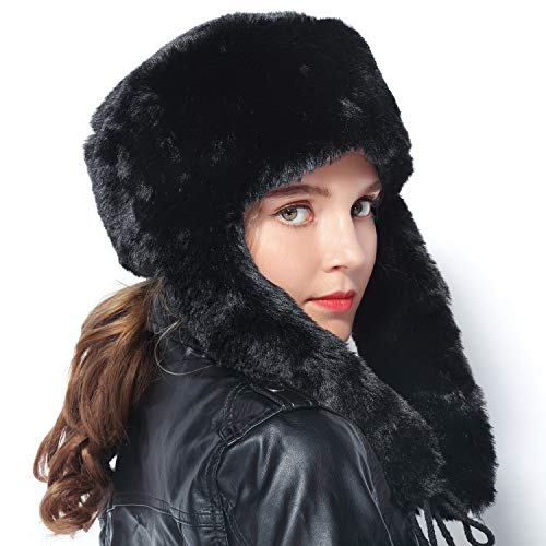4f62a6a9ad8 lanliebao Women Winter Bomber Hats Russian Ushanka Hats mad Bomber hat  Rabbit Fur