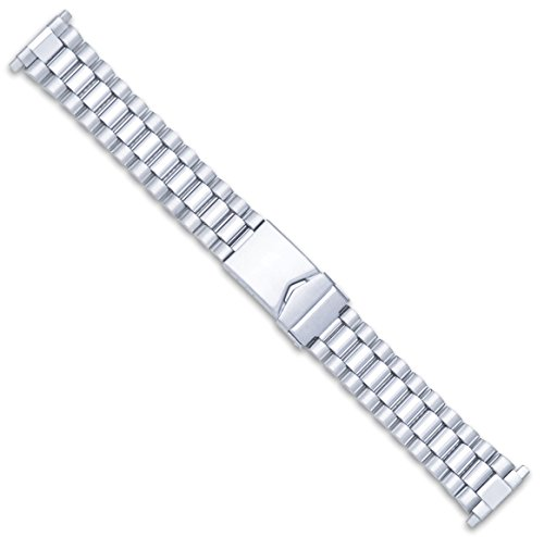 President Link Style Metal Watch Band - Silver - (fits 18mm to 22mm) -