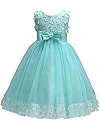 weileenice little girl ball gown lace party dresses a line flower girls dress with bowknot for wedding