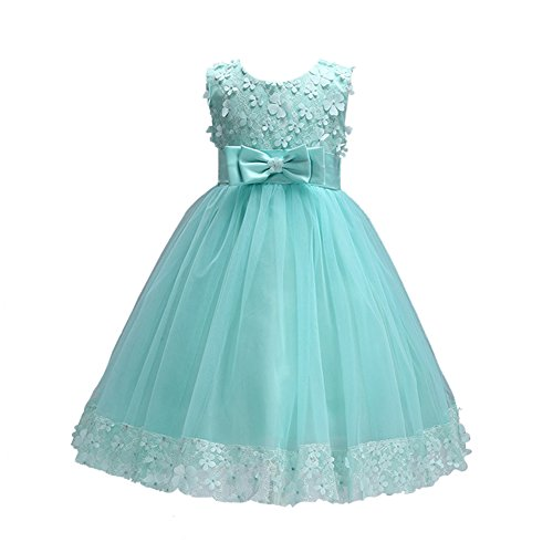 Weileenice 1-14 Years Big/Little Girl Flower Lace A-line Party Dresses Apple Green -