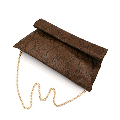 Premium Coffee Bag Up Roll Colors Snakeskin Evening Clutch Diff Flap PU Leather r4RBr8Pq