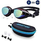 AIKOTOO Prescription Swim Goggles, Swimming Goggles Leakproof Anti-Fog UV Protection Nearsighted Myopia Nose Clip Ear Plugs for Women Kids Men