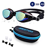 AIKOTOO Prescription Swim Goggles, Swimming Goggles Leakproof Anti-Fog UV Protection Nearsighted Myopia Nose Clip Ear Plugs for Women Kids Men