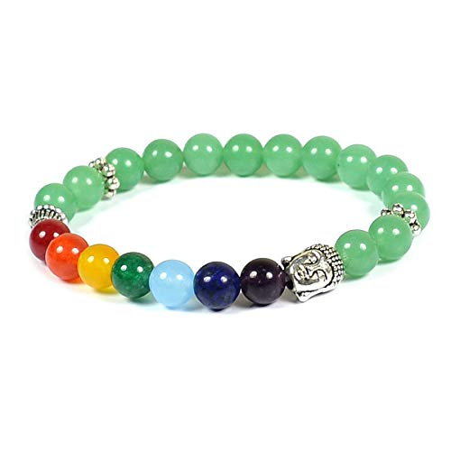 Reiki Crystal Products Green Jade & 7 Chakra with Buddha Head 8mm Round Bead Bracelet