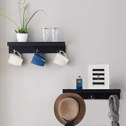 - O&K FURNITURE Wall Coat Racks with Shelf, Entryway Shelf with Dual Hooks(Black-Oak, 18.9
