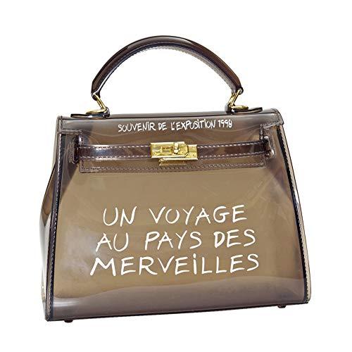 Women's Clear Bag Jelly Color Transparent Handbag PVC Purse (Small, Black)