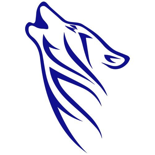 Tribal Wolf Howling Decal Sticker (blue, mirrored), Decal Sticker Vinyl Car Home Truck Window Laptop ()