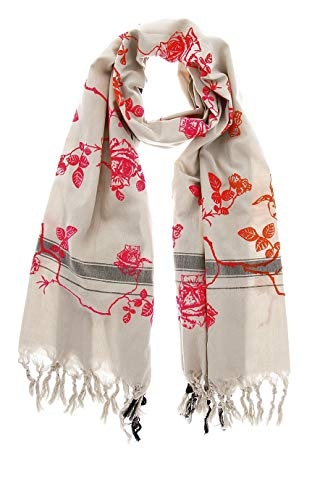 ROSES Red Pink Cotton Silk Woman Scarf