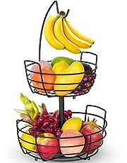 Fruit Basket, Auledio Fruit Bowl 2 Tier Fruit Basket for Kitchen with Banana Hanger, Fruit Bowl for Kitchen Counter Bread Basket Fruit Holder