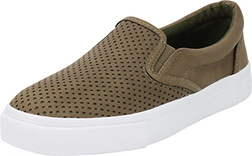 Cambridge Select Women's Round Toe Perforated Laser Cutout Slip-On Flatform Fashion Sneaker Light Olive Nbpu/White Sole
