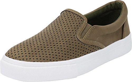 Cambridge Select Women's Round Toe Perforated Laser Cutout Slip-On Flatform Fashion Sneaker,9 M US,Light Olive Nbpu/White Sole