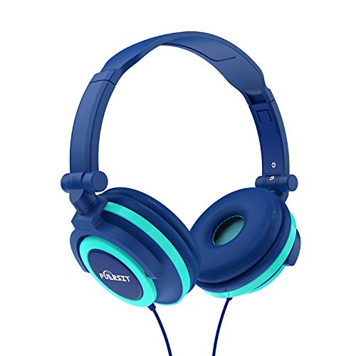 Puersit Kids Headphones Children Stereo Foldable Adjustable On Ear Headsets 3.5mm Jack iPad Cellphones Computer MP3/4 Tablet Kindle (Blue)