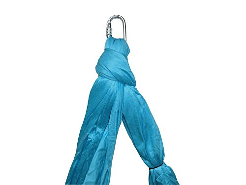 Omitree Deluxe 5.5 Yards Elastic Decompression Inversion Therapy Yoga Swing Aerial Yoga Hammock Flying Yoga Strap 2000 Lb- Blue