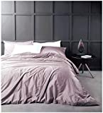 Purple and Grey Duvet Cover Eikei Solid Color Egyptian Cotton Duvet Cover Luxury Bedding Set High Thread Count Long Staple Sateen Weave Silky Soft Breathable Pima Quality Bed Linen (King, Mauve)
