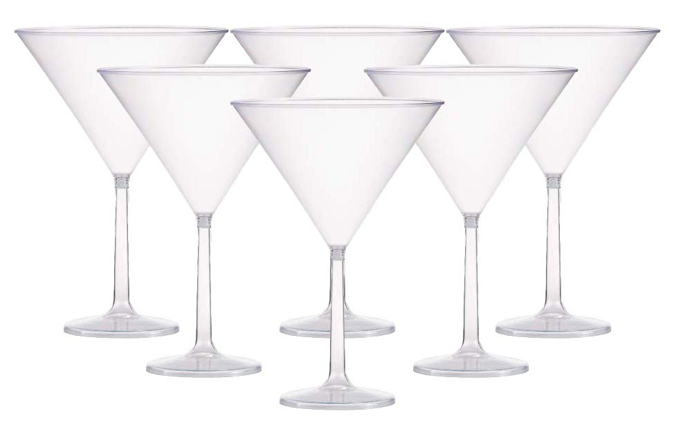 Six (6) Jumbo Clear Martini Glasses - w/Free Recipe Card by Marriage and Martinis