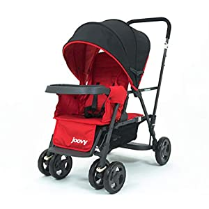 Joovy-Caboose-Too-Graphite-Stand-On-Tandem-Stroller-Red-with-Caboose-Rear-Seat-Red