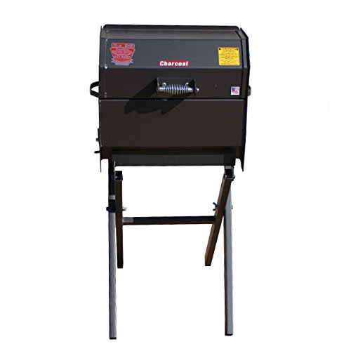 R&V WORKS Cajun Smokin' Stainless Junior Charcoal Grill on Folding Stand (Charcoal Grill Steel Stainless Cajun)