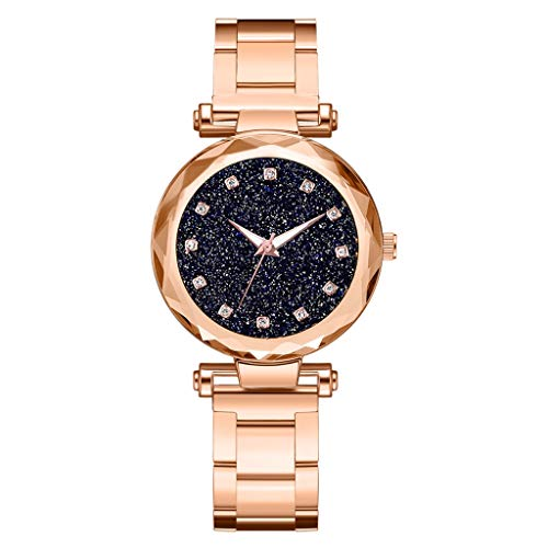 Clearance Sale!DEESEE(TM)Multi Faceted Bump Fashion Simple Star Sky Dial Ladies Steel Belt Quartz Watch (Rose Gold) ()