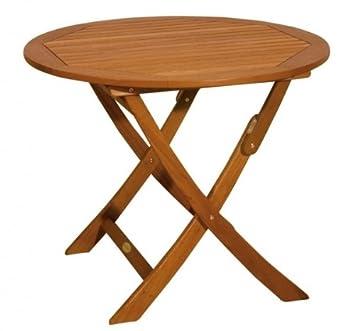 Vamundo Table de Jardin Ronde Pliable en Bois d\'eucalyptus FSC huilé ...