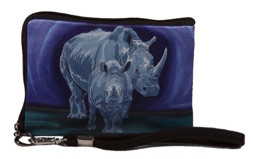 Price comparison product image Rhino Small Zip Around Wristlet - Wearable Art - Support Wildlife Conservation, Read How (Rhino - Stalwart Linage)